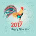 Christmas Greeting Card With A Rooster Stock Images - 80498124