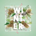 Winter Christmas Design In Vector. Winter Flowers With Pines Stock Photo - 80500600