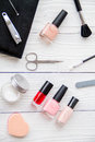 Manicure Set And Nail Polish On Wooden Background Royalty Free Stock Photography - 80510197