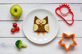 Kids Menu Owl Shaped Sandwich With Vegetables And Fruits Royalty Free Stock Photography - 80510377