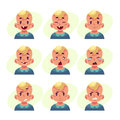 Set Of Blond Baby Boy Avatars With Different Emotions Royalty Free Stock Photography - 80533317