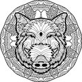 Coloring Antistress Page. Wild Boar Is Drawn By Hand With Ink. Zendoodle. Royalty Free Stock Photos - 80534428