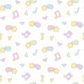 Cute Cartoon Colorful Mix Seamless Pattern Background Illustration With Star Comet, Music Notes And Diamond Stock Image - 80536471
