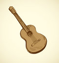 Classical Acoustic Guitar. Vector Sketch Royalty Free Stock Image - 80536756