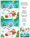 Holiday Find The Differences Picture Puzzle With Candy Cane Stock Images - 80558914
