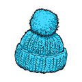 Bright Blue Winter Knitted Hat With Pompon Royalty Free Stock Photo - 80562935