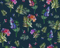 Vintage Floral Herbs Seamless Pattern With Forest Flowers And Leaf. Print For Textile Wallpaper Endless. Hand-drawn Royalty Free Stock Photo - 80568475