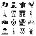 France Travel Icons Set, Simple Style Royalty Free Stock Photo - 80573275