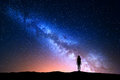 Beautiful Milky Way With Standing Woman. Colorful Night Sky Royalty Free Stock Images - 80574389