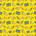 Hands OK Tape And Ice Cream Seamless Pattern. Fashion Background In Retro Comic Style Stock Photo - 80577080