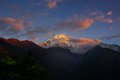 View Of Mt. Annapurna III At Sunrise From Chomrong, Nepal. Stock Image - 80596761