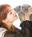 The Young Girl And Two Kittens Royalty Free Stock Image - 8068856