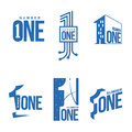 Set Of Blue And White Number One Logo Templates Royalty Free Stock Photo - 80600325