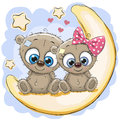 Two Cute Bears On The Moon Stock Photography - 80604382