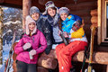 Best Friends Spend Winter Holidays At Mountain Cottage Stock Images - 80616854