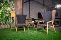 Two Comfortable Chairs On The Grass Stock Photo - 80626700