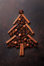 Anise And Cinnamon Spices Christmas Tree Stock Images - 80631274