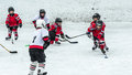 Hockey Season, Kids Play National Game At A Winter Carnival. Royalty Free Stock Photography - 80639647