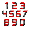 Vector 3d Number Set Logo With Speed Red And Black. Design For Banner, Presentation, Web Page, Card, Labels Or Posters Royalty Free Stock Images - 80639959