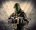 Portrait Of A Dangerous Masked Armed Soldier With Grungy Backgro Royalty Free Stock Image - 80652896
