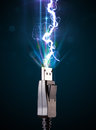 Electric Cable With Glowing Electricity Lightning Royalty Free Stock Photography - 80652907