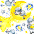 Cute Sheep.Seamless Pattern With Cute Sheep And Star. Sheep And Stars Watercolor Background Royalty Free Stock Photo - 80656275