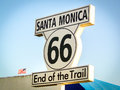 Santa Monica Route 66 End Of The Trail Sign California Los Angel Royalty Free Stock Photo - 80660985