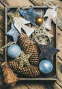 Christmas Tree Toy Stars, Balls And Garland In Wooden Box Royalty Free Stock Photo - 80661475