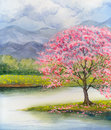 Watercolor Landscape. Flowering Pink Tree By Lake Royalty Free Stock Photos - 80663748