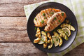Grilled Chicken Breast With Avocado, Lemon And Olive Close-up. H Royalty Free Stock Photography - 80675077