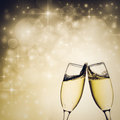 Champagne Glasses Against Holiday Lights Stock Image - 80678201