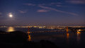 Moon Over Golden Gate Bridge, San Francisco, California Royalty Free Stock Images - 80680429
