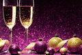Two Glasses Of Champagne Ready For Christmas Celebration Stock Image - 80684701