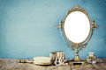 Old Vintage Oval Mirror And Woman Toilet Fashion Objects Stock Photos - 80685123