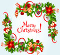 Merry Christmas Vector Poster With Decorations Royalty Free Stock Images - 80706089