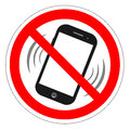 No Cell Phone Sign. Mobile Phone Ringer Volume Mute Sign. No Smartphone Allowed Icon. No Calling Label On White Background. No Pho Royalty Free Stock Photo - 80714995