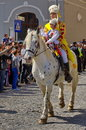 Man And Child On The Horse, In Traditional National Costumes At The Parade - Celebration Days Of Brasov City, Landmark In Romania Royalty Free Stock Photo - 80719165
