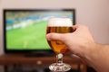 Football Game With Glass Of Beer Royalty Free Stock Photography - 80720167
