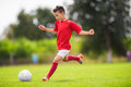 Boy Shooting At Goal Royalty Free Stock Photography - 80731877
