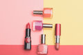 Bottles With Nail Polish And Lipstick Royalty Free Stock Photography - 80754057