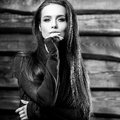 Young Sensual & Beauty Brunette Woman Pose On Wooden Background. Black-white Photo Royalty Free Stock Image - 80766086