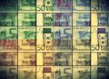 50 Euros Banknote Bill In Colored Collage Royalty Free Stock Photo - 80767445