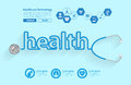 Vector Stethoscope In The Shape Of A Health Words Design Royalty Free Stock Photos - 80771798