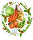 Cute Fox. Christmas Card. Forest Animal. Watercolor Winter Forest Illustration. Christmas Wreath Frame. Watercolor Winter Holidays Royalty Free Stock Photo - 80772515
