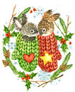 Cute Rabbit. Christmas Card. Forest Animal. Watercolor Winter Forest Illustration. Christmas Wreath Frame. Watercolor Winter Holid Royalty Free Stock Photos - 80772888