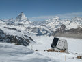 Mountain Hut In The Swiss Alps Royalty Free Stock Image - 80775666