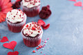 Red Velvet Cupcakes For Valentines Day Stock Photography - 80778752