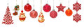 Set Of Red New Year Baubles For Christmas Fir-tree Ornaments Stock Photos - 80781823