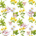 Herbal Tea. Seamless Pattern: Herbs Chamomile, Mint, Teapot, Teacup. Watercolor Stock Images - 80793274