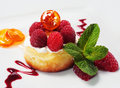 Ricotta Cheese Cake With Raspberry Royalty Free Stock Photo - 8086005